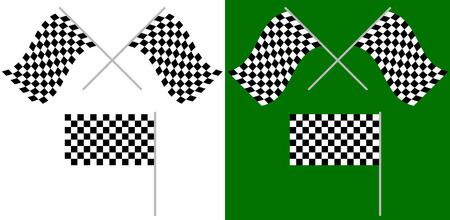 motorsport: Crossed and single racing, race flags isolated on white  green. for auto-, motorsport, championship concepts Illustration