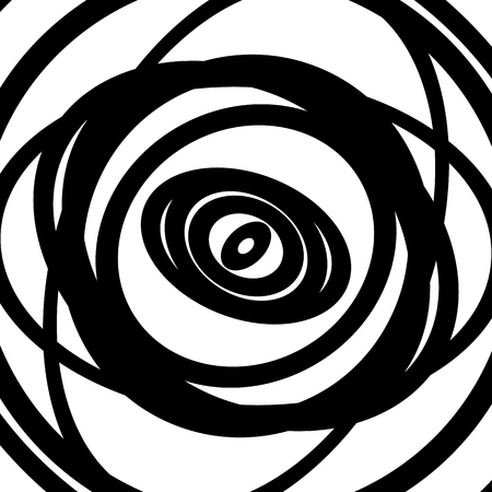 circulos concentricos: Concentric circles pattern. Abstract monochrome-geometric illustration. Vectores