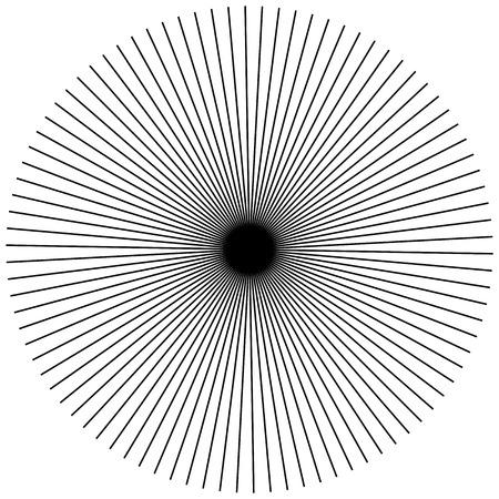 radiating: Radial, radiating straight thin lines. Circular black and white abstract minimal illustration. Intersecting lines at center.