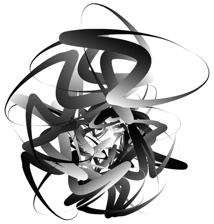 Random squiggly, curvy lines, abstract monochrome illustration. Overlapping tangled shapes. Black and white monochrome art image
