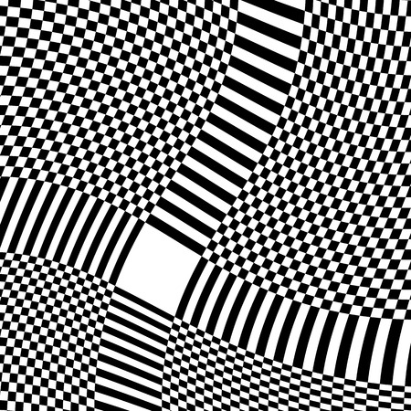 distortion: Checkered pattern with warp, distortion. abstract geometric illustration Illustration
