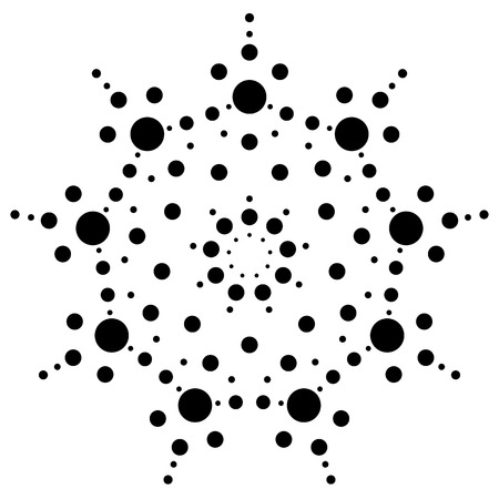 Dots, cercles radiaux, rayonnant motif, élément. Abstract halftone minimal, conception pointilliste Vecteurs