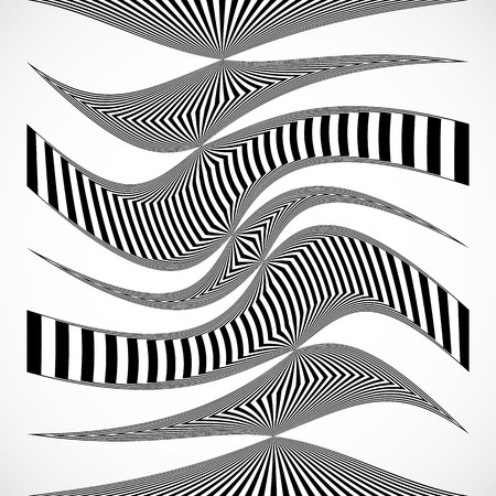misshapen: Vertical stripes, lines with distortion, warp effect. Abstract monochrome geometry illustration. Illustration