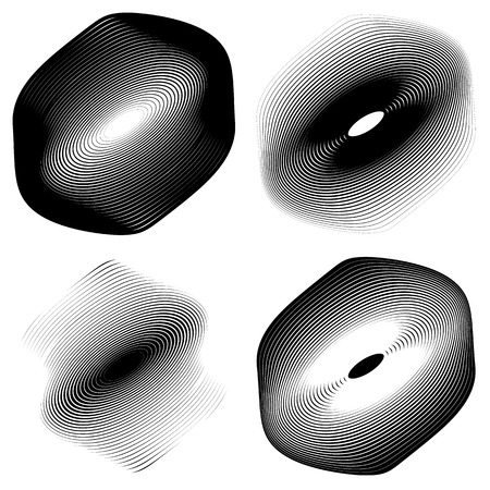 bw: Radial, concentric shape set. Abstract monochrome graphics.