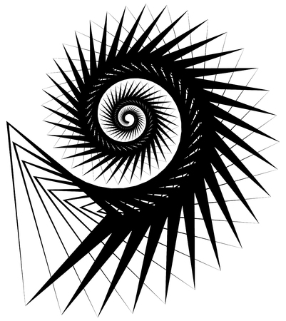 volute: Geometric, angular snail, helix, volute element isolated on white. Abstract monochrome  non-figural illustration. Illustration
