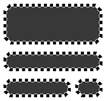 motor sport: Set of blank banners, plaques with checkered borders for racing, auto sport, motor sport, gokart themes. checkered borders, frames Illustration