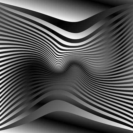 curvature: Lines with deformation effect. Abstract uncolored, monochrome illustration.