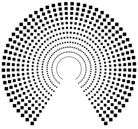 pointillism: Dotted circular element. Mononochrome black and white illustration on white.