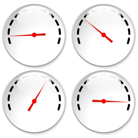 Dial, meter templates with red need and units set at 4 stages, levels. Generic indicator, measurement icons without text. Progression, low-high, acceleration concepts.