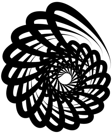 rotating: Spiral volute, snail shape, element. Rotating, twirling abstract monochrome illustration. Circular curlicue, twisting lines.