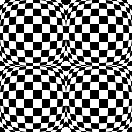 curvature: Checkered pattern(s) with distortion, deformation effect. Repeatable.