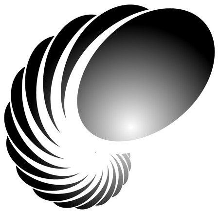 helix: Spiral, helix, snail shape. Abstract monochrome element on white.