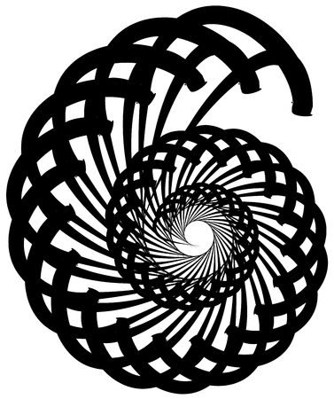 volute: Spiral volute, snail shape, element. Rotating, twirling abstract monochrome illustration. Circular curlicue, twisting lines.