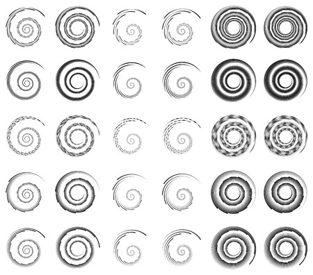 swooshes: Set 30 of spiral, helix shapes, concentric, rotating elements, swooshes, curlicues