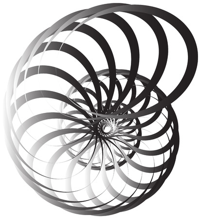 Spiral volute, snail shape, element. Rotating, twirling abstract monochrome illustration. Circular curlicue, twisting lines.