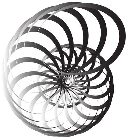 volute en spirale, forme d'escargot, élément. Rotation, tournoyant abstraite monochrome illustration. curlicue circulaire, lignes de torsion.