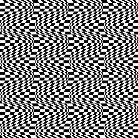 repeatable: Checkered pattern(s) with distortion, deformation effect. Repeatable.