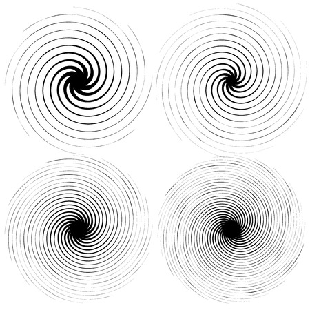 spokes: 4 radial spiral elements. Rotating, radiating lines with different level of distortion, and number of spokes.