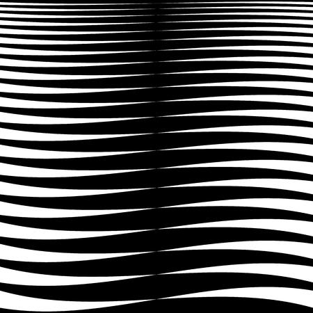 Horizontale Linien, Streifen - Winken, Wellenlinien von dick nach dünn in Folge. abstrakte monochrome, Graustufen- geometrische Muster, Textur. Vektorgrafik