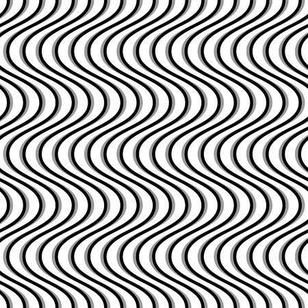 wriggle: Wavy, billowy, undulating lines. Seamless geometric monochrome pattern  texture.