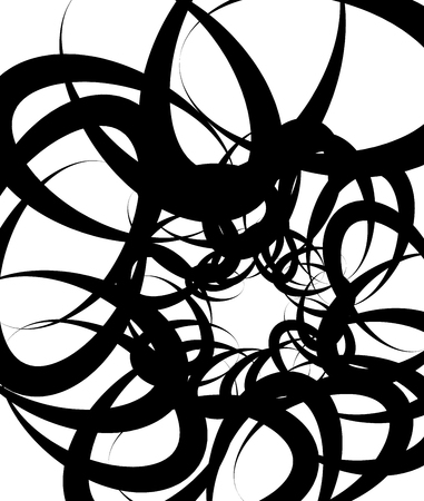 undulating: Random squiggly, curvy lines, abstract monochrome illustration. Overlapping tangled shapes. Black and white monochrome art image