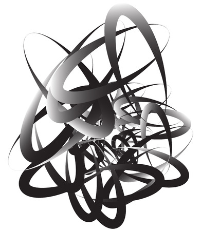 squiggly: Random squiggly, curvy lines, abstract monochrome illustration. Overlapping tangled shapes. Black and white monochrome art image