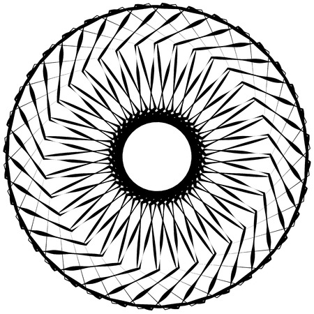 gyration: Abstract geometric spiral element with intersecting lines