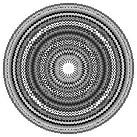 abstractionism: Edgy, jagged circular, circle element. Concentric shapes with distortion effect. Abstract design element. Illustration
