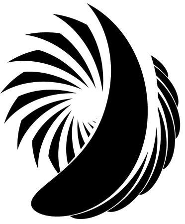 tense: Abstract spirally, monochrome element on white with overlapping shapes. Illustration