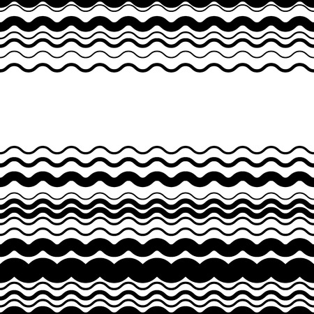 crisscross: Wavy, zig-zag horizontal parallel lines. Abstract monochrome seamlessly repeatable pattern