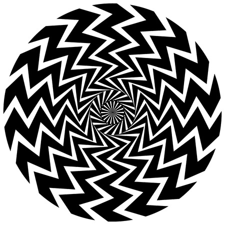 revolve: Abstract circular element. Rotating radial lines with wavy effect. Geometric monochrome circle. Abstract burst element.