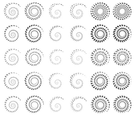 curlicues: Set 30 of spiral, helix shapes, concentric, rotating elements, swooshes, curlicues