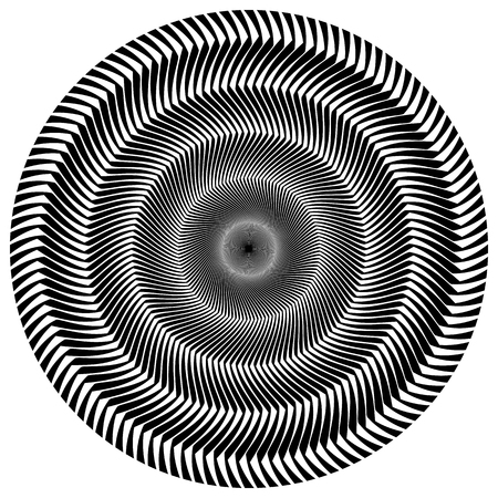 rotating: Abstract circular element. Rotating radial lines with wavy effect. Geometric monochrome circle. Abstract burst element.