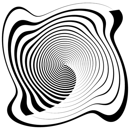 squeeze shape: Asymmetric spiral shape isolated on white. Irregular, concentric lines abstract design element, geometric shape.