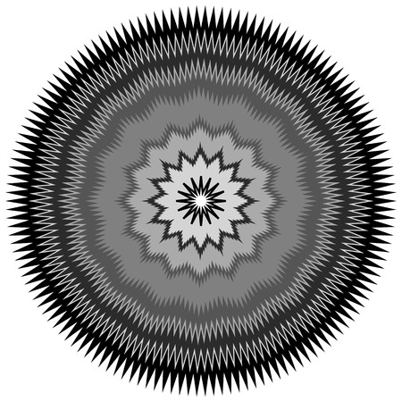 jagged: Edgy, jagged circular, circle element. Concentric shapes with distortion effect. Abstract design element. Illustration