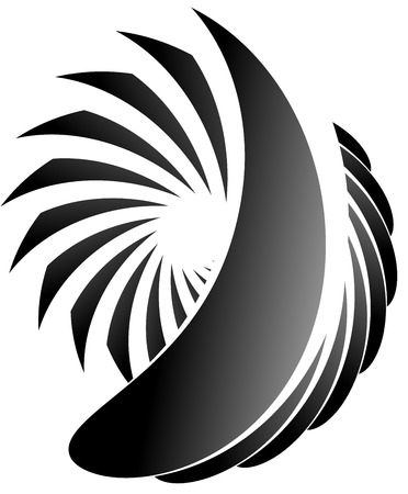 misshapen: Abstract spirally, monochrome element on white with overlapping shapes. Illustration