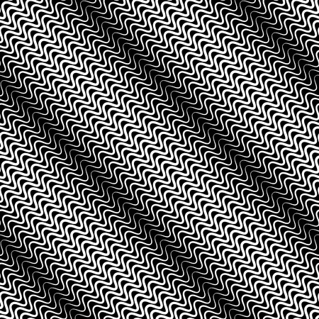 parallel: Wavy diagonal parallel lines. seamless, repeatable monochrome pattern