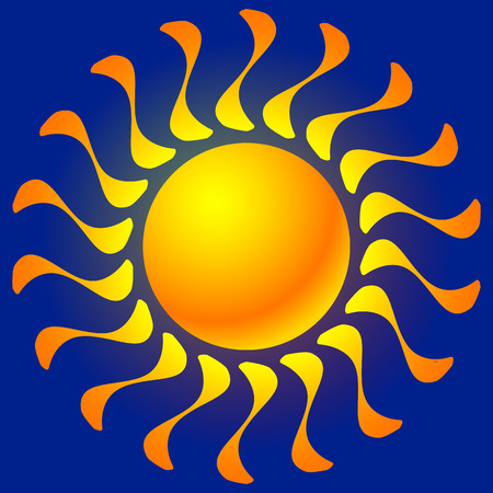sun tanning: Sun clip-art with transparent glow effect. Sun shine, weather, tanning, sun bathing concepts. Illustration