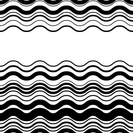 horizontal lines: Wavy, zig-zag horizontal parallel lines. Abstract monochrome seamlessly repeatable pattern