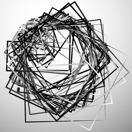 intersecting: Edgy angular monochrome geometric illustration with intersecting random squares