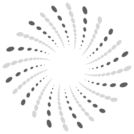 Twist, spiral shape with circles. Rotating dotted element. Abstract grayscale, black and white (monochrome) circular graphics Illustration