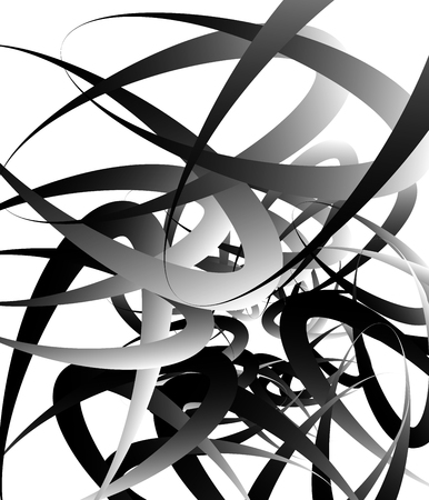 tangled: Random squiggly, curvy lines, abstract monochrome illustration. Overlapping tangled shapes. Black and white monochrome art image