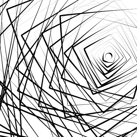 anomalous: Random concentric squares spreading from side. Abstract, chaotic pattern  texture. Geometric irregular illustration.