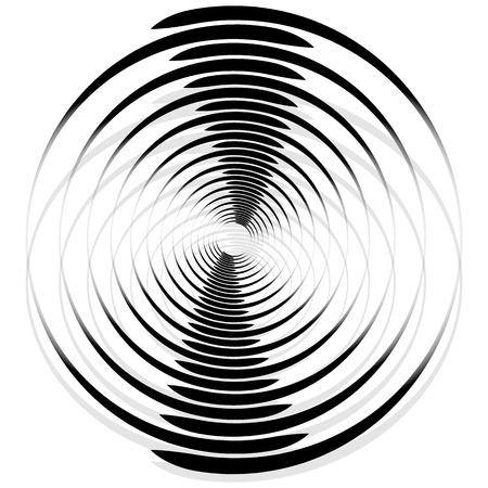 Résumé spirale monochrome, vortex avec des cercles rayonnants radiaux. Rotation des cercles.