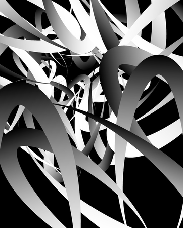 billow: Random squiggly, curvy lines, abstract monochrome illustration. Overlapping tangled shapes. Black and white monochrome art image
