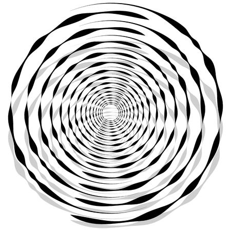 revolve: Abstract monochrome spiral, vortex with radial, radiating circles. Rotating circles.