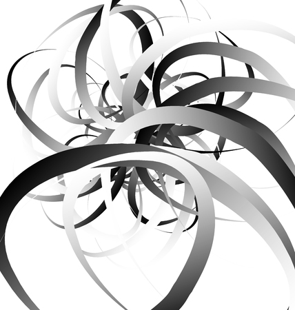 curvature: Random squiggly, curvy lines, abstract monochrome illustration. Overlapping tangled shapes. Black and white monochrome art image