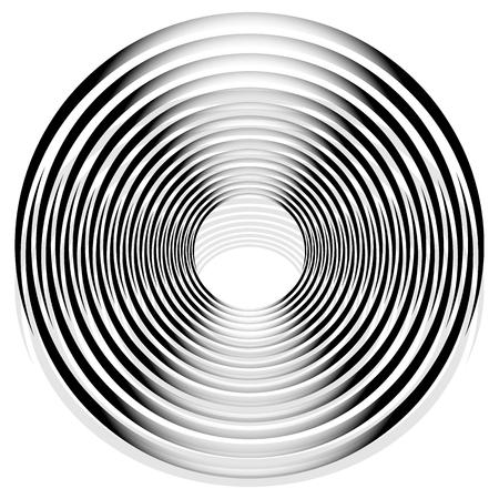 gyration: Abstract monochrome spiral, vortex with radial, radiating circles. Rotating circles.