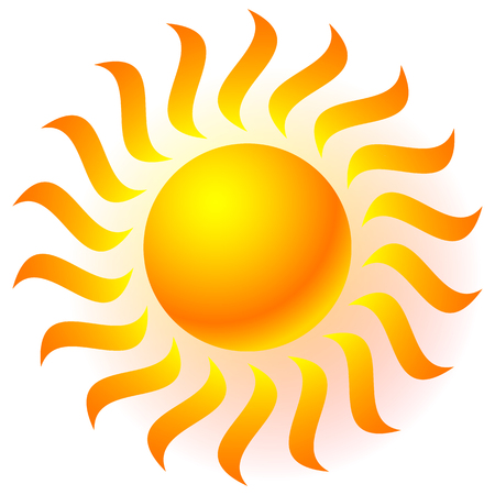 solarium: Sun clip-art with transparent glow effect. Sun shine, weather, tanning, sun bathing concepts. Illustration