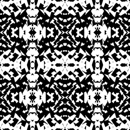 subconscious: Mirrored geometric pattern. Repeatable monochrome abstract background.